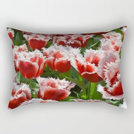 Big red roses with green leaves and white top edges Rectangular Pillow