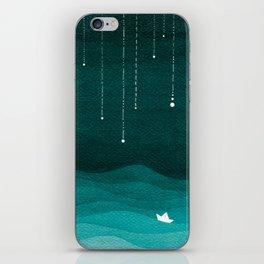 Falling stars, sailboat, teal, ocean iPhone Skin