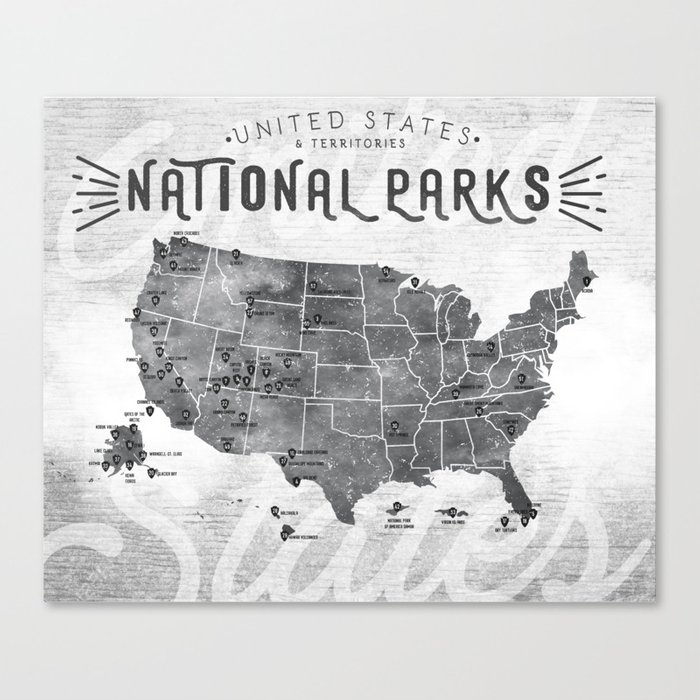 National Parks Map Canvas Print by himynameismonica on drawing map, marine map, north atlantic drift map, denim map, disney channel map, wax map, metallic map, laminated map, geographix map, string map, graphic map, world map, exalted map, middle bay lighthouse map, solid map, calculating map, tarp map, wallpaper map, design your own map, styrofoam map,