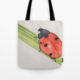 Ladybird on a blade of grass Tote Bag