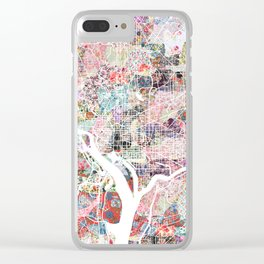 Washington map flowers Clear iPhone Case