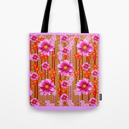 Lilac Purple Dahlia Flowers Orange Abstract Pattern Tote Bag
