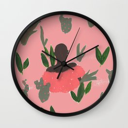 Desert Woman in Living Coral Wall Clock