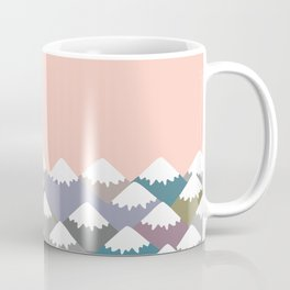 Nature background with Mountain landscape. Gray, pink, blue navy mountain with snow-capped peaks. Coffee Mug