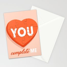 You Complete Me - Puzzle Heart Stationery Cards