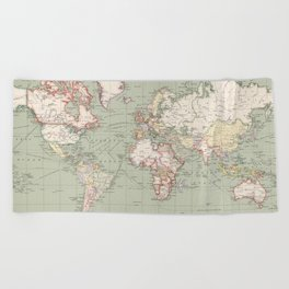 Vintage Map of The World (1915) Beach Towel