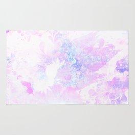 Blue Pink Flower Ink Rug