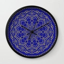 Mandala - blue and gold 1 Wall Clock