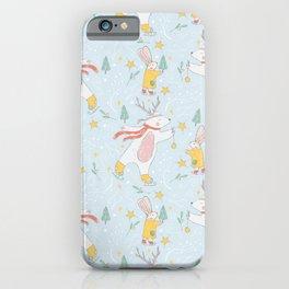 Christmas Polar Bears and Rabbits Ice Skating iPhone Case