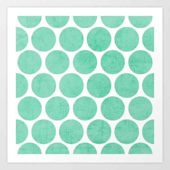 mint polka dots Art Print