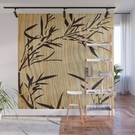 Japanese bamboo buddha wood art Wall Mural