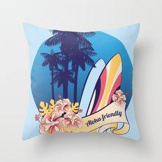 Aloha-friendly surf, summer, beach Throw Pillow