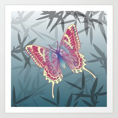 Unique Butterfly Bamboo leaves Pattern Art Print