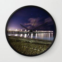 Ventura pier, CA. night landscape Wall Clock