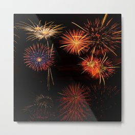 Fireworks Reflection In Water - OLena Art Metal Print