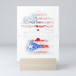 American Raised with Puerto Rican Roots USA Flag T-Shirt Mini Art Print