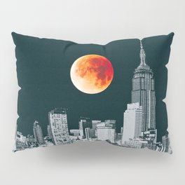 Blood Moon over New York City Skyline Pillow Sham