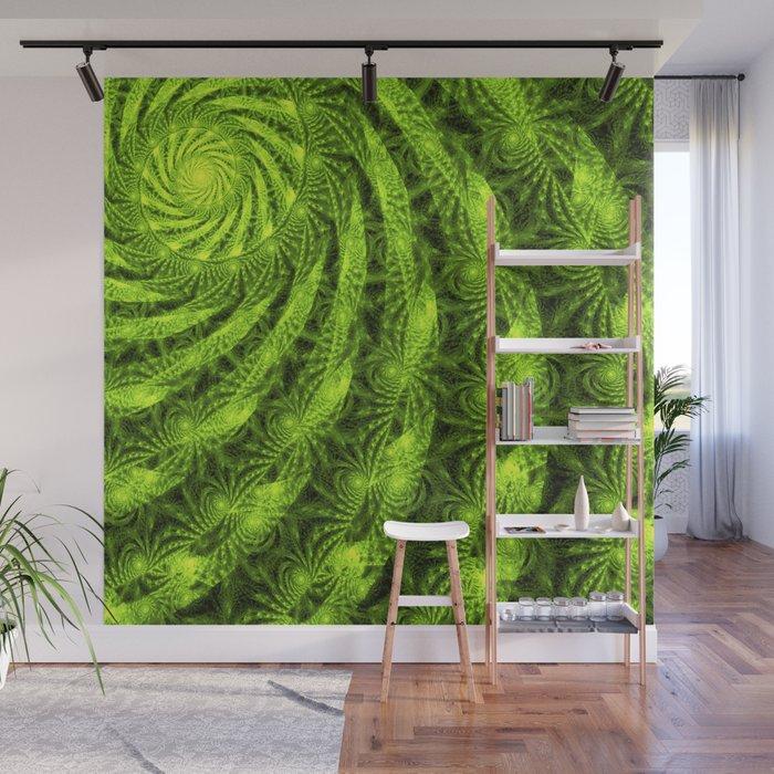 Green Plant Fractal Wall Mural