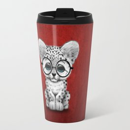 Cute Snow Leopard Cub Wearing Glasses on Deep Red Travel Mug