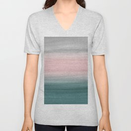 Touching Teal Blush Gray Watercolor Abstract #1 #painting #decor #art #society6 Unisex V-Neck