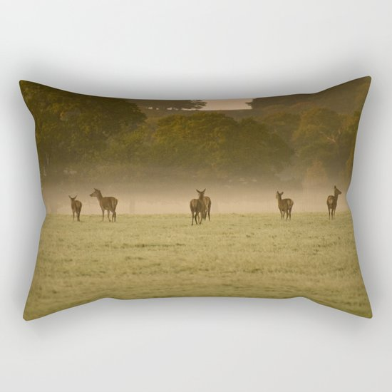 Buck in green grass Rectangular Pillow