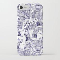 Doctor Who Toile de Jouy | 'Walking Doodle' | Blue Slim Case iPhone 7