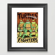 TURTLES FIGHTERS Framed Art Print