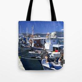 Fishing boats of Corfu Town Tote Bag
