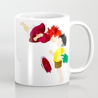 ponyo Mugs featuring Ponyo and Sosuke white background by foreverwars