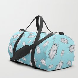 White Marble Beetle on Blue Background Duffle Bag