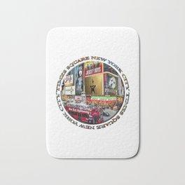 Times Square New York City (badge emblem on white) Bath Mat