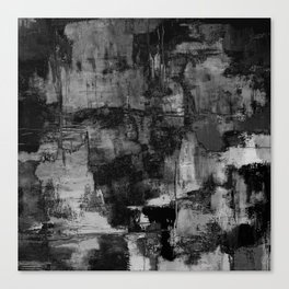 Crackled Gray - Black, white and gray, grey textured abstract Leinwanddruck