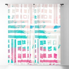 Pastel pink magenta coral geometrical watercolor Blackout Curtain