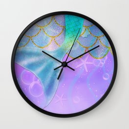 Mermaid Iridescent Shimmer Wall Clock