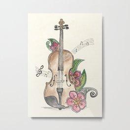 Violin and Flowers Metal Print