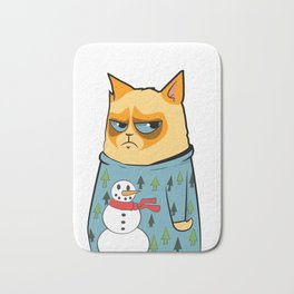 Ginger cat in Holiday Sweater 01 Bath Mat