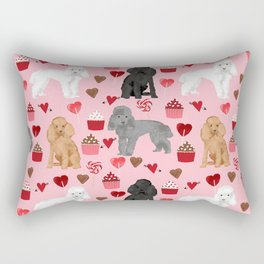 Toy Poodles mixed coat valentines day cupcakes love hearts dog breed gifts pet portraits must haves Rectangular Pillow