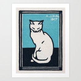 """Cat Wall Art - """"Sitting Cat"""" (1917) White Cat Print by Julie de Graag Art Print"""