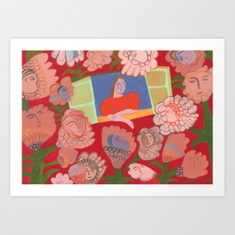 Window Blooms Red Art Print