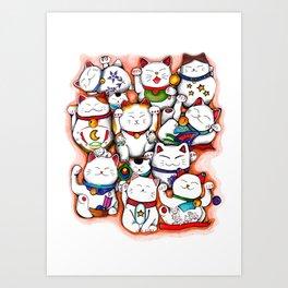 lucky (maneki-neko) cats Art Print