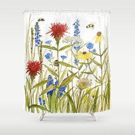 Garden Flower Bees Contemporary Illustration Painting Shower Curtain