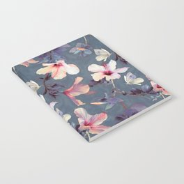 Butterflies and Hibiscus Flowers - a painted pattern Notebook