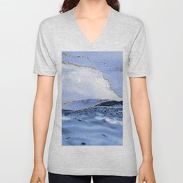 Blue Antartic Ocean Marble Waves Seascape Unisex V-Neck