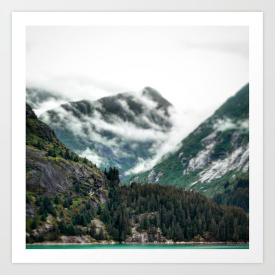 Foggy Mountain Tops Art Print