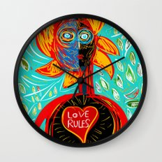 Love Rules Street Art Graffiti Pop Wall Clock