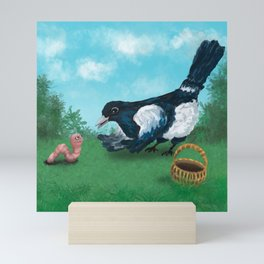 Magpie talking to worm - illustration Mini Art Print