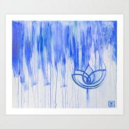 Blue Loner Lotus Art Print