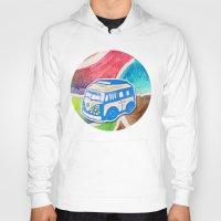 vw bus Hoodies featuring VW Bus Campervan by Carrie at Dendryad Art