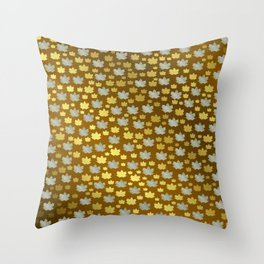 gold, silver, metal shiny maple leaf on shimmering texture Throw Pillow