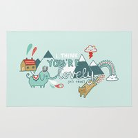 gemma Area & Throw Rugs featuring I Think You're Lovely by gemma correll